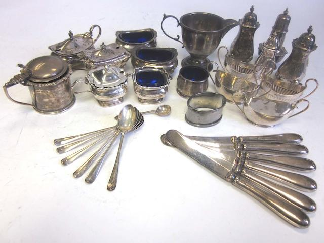 A quantity of silver cruet pieces and other silver items (Qty)