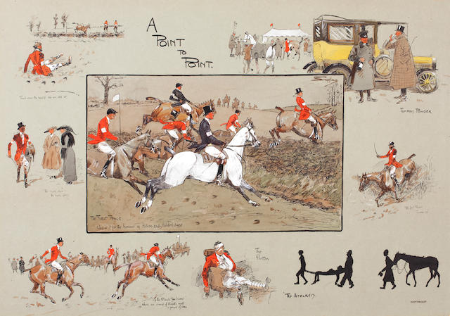 Charlie Johnson Payne, 'Snaffles' (British, 1884-1967) 'A Point To Point' (yellow Rolls Royce)