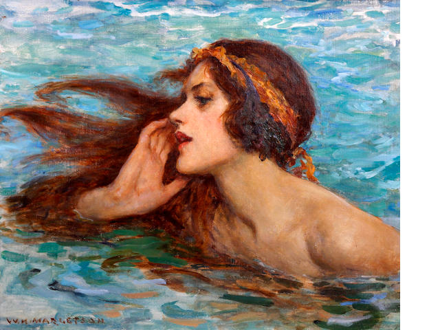 William Henry Margetson (British, 1861-1940) A water sprite or siren