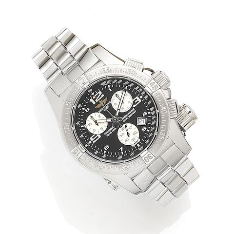 Brietling. A stainless steel quartz calendar 1/100th second chronograph bracelet watch with micro antenna for the aviation emergency frequency 121.5 MHz with box and papers Emergency Mission, Ref:A73321, Case No.743458, Sold 1st August 2008