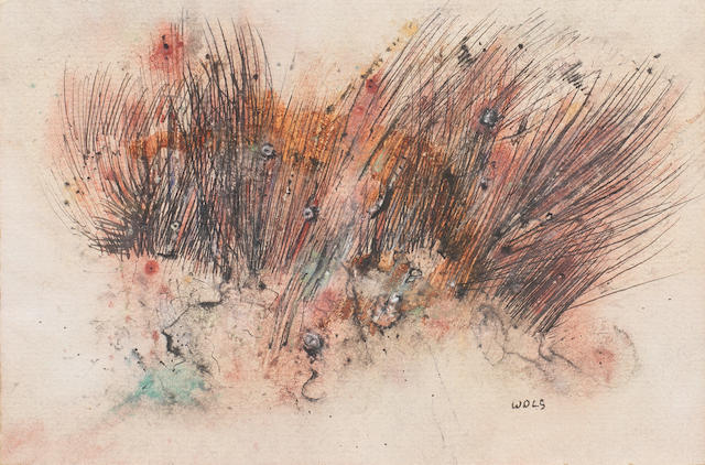 Wols (German, 1913-1951) Buissons Ardents <BR /> signed mixed media on paper  12 by 18 cm. 4 3/4 by 7 1/16 in.