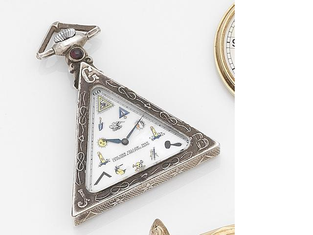 Solvil Watch Co. A Masonic silver open face keyless wind triangular shaped pocket watch Case No.20, Movement No.2697664, Circa 1890