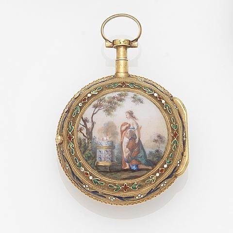 Romilly, Paris. A continental gold and enamel key wind open face pocket watchMovement No.545, Circa 1780