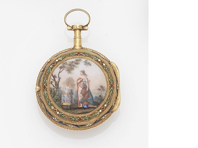 Romilly, Paris. A continental gold and enamel key wind open face pocket watch Movement No.545, Circa 1780