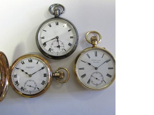 A lot of three keyless wind pocket watches