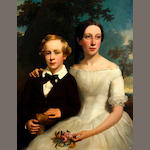 British School, (circa 1850) Portrait of a brother and sister before a landscape