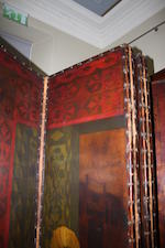 A large six fold painted leather screen Probably mid-19th century