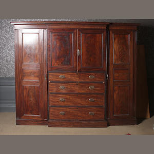 A 19th century mahogany compactum wardrobe second quarter 19th century