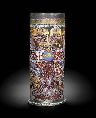 A Bohemian enamelled and gilt Reichsadlerhumpen, dated 1614
