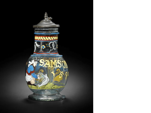 A Bohemian enamelled flask with figure and pewter mount, inscribed SAMSON, dated 1590