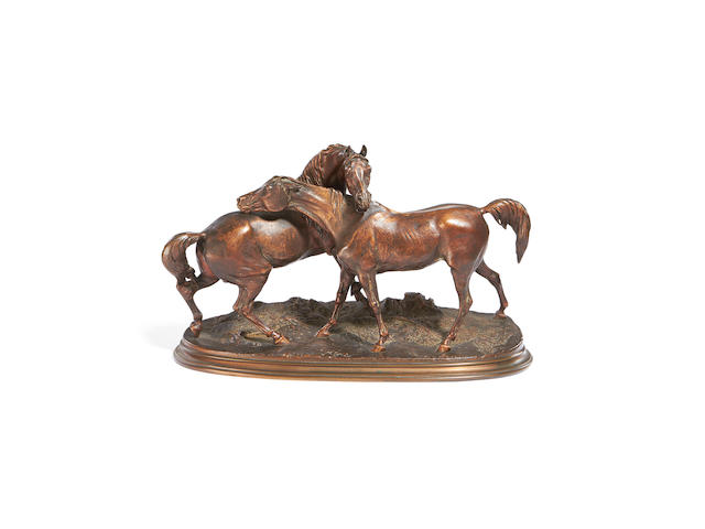 Pierre Jules Mêne, French (1810-1879) A large bronze model of two horses L'Accolade