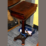 An early Victorian rosewood games table, with chess and draughts set