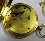 James Hoddell & Co., London. An 18ct gold keyless wind open face free sprung chronometer pocket watchCase and Movement No.17075, London Hallmark for 1883