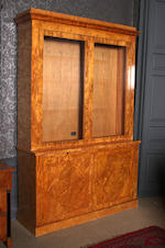 A pair of modern karelian birch bookcases