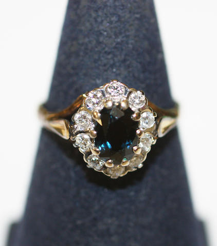 An 18ct gold sapphire and diamond ring,