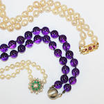 Two cultured pearl necklaces and an amethyst bead necklace,  (3)