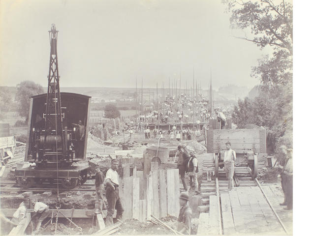 "RAILWAY - GREAT CENTRAL An album of photographs depicting the construction of the Manchester, Sheffield, and Lincolnshire Railway (""Great Central Railway""), especially the London Extension built in the 1890s, together with images of the engine stock, [1890s]"