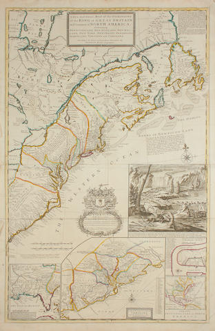 MOLL (HERMAN) A New and Exact Map of the Dominions of the King of Great Britain on Ye Continent of North America. Containing Newfoundland, New Scotland, New England, New York, New Jersey, Pensilvania, Maryland, Virginia and Carolina. According to teh Newest and Most Exact Observations by Herman Moll Geographer, 1715
