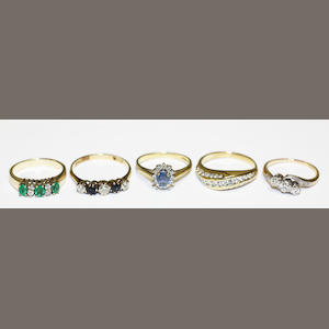 Five gem-set rings
