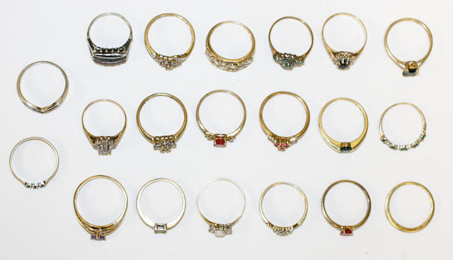 A collection of twenty rings,20