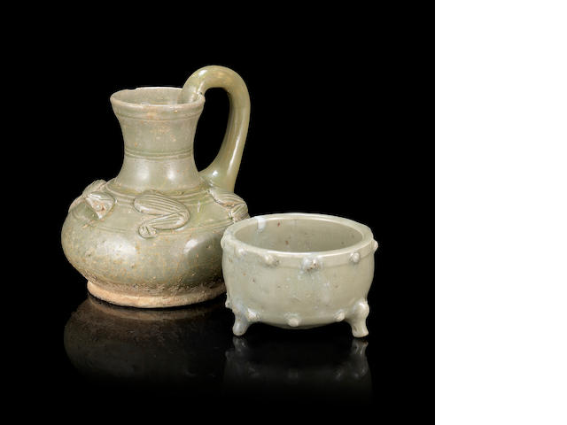 Two small celadon-glazed wares