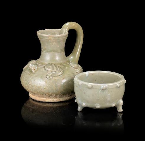 Two small celadon-glazed wares