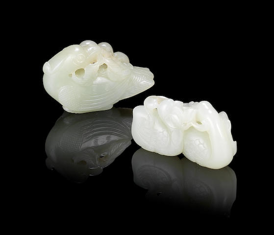 Two reticulated jade carvings