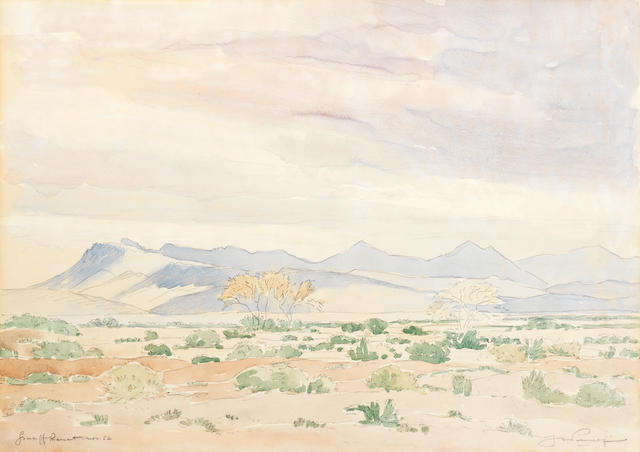 Jacob Hendrik Pierneef (South African, 1886-1957) Graaff Reinet, Nov 52  approx 36 x 52.5cm (14 3/16 x 20 11/16in).