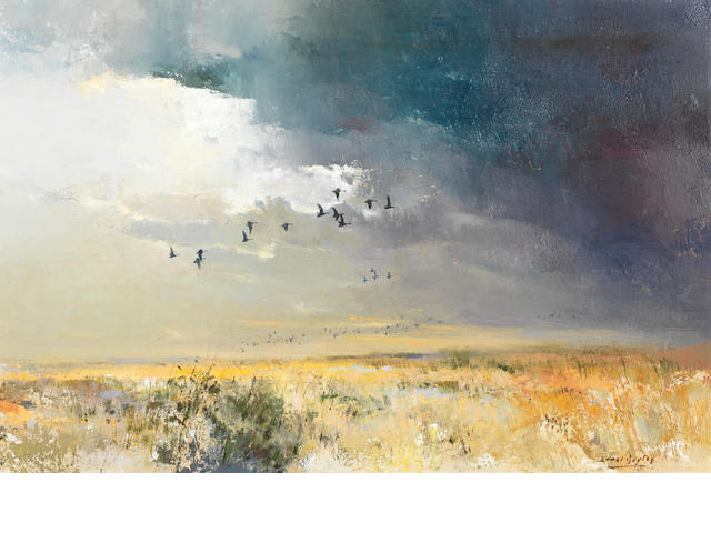 Errol Stephen Boyley (South African, 1918-2007) Ducks in flight approx 63 x 90cm (24 13/16 x 35 7/16in).