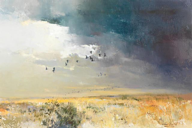 Errol Stephen Boyley (South African, 1918-2007) Ducks in flight