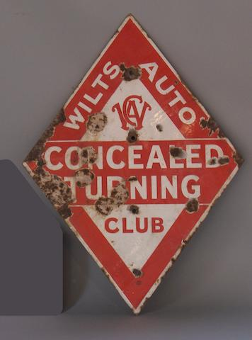 A Wilts Auto Club warning diamond sign,