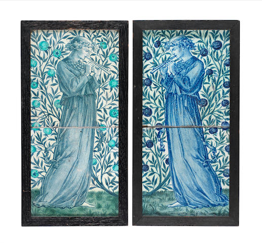 William Morris for Morris & Co. A Pair of 'Minstrel' Two-Tile Panels, circa 1905