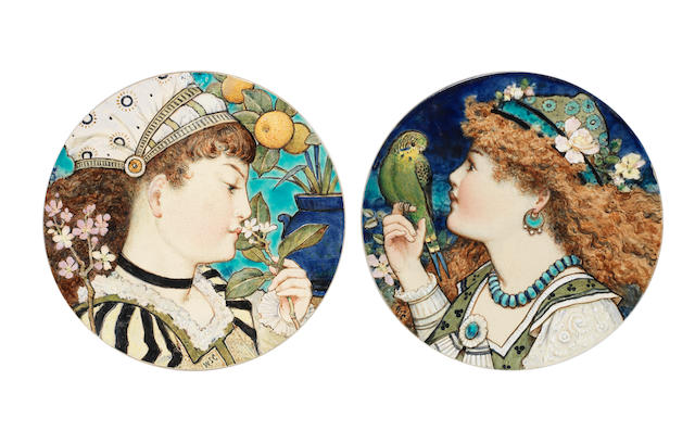 William Stephen Coleman for Minton a Pair of Roundels Depicting Young Females, 1872