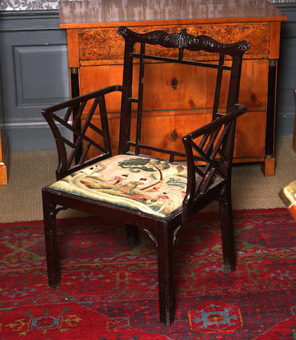 A George III mahogany Chinese Chippendale style armchair