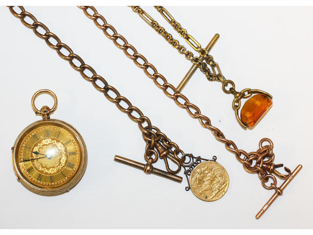 An 18ct gold fob watch and three Albert chains, (4)