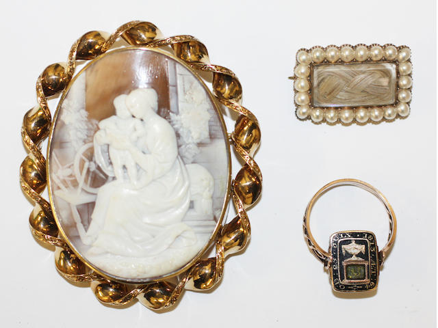 An early 19th century memorial ring, a late 18th century memorial brooch and a cameo brooch, (3)