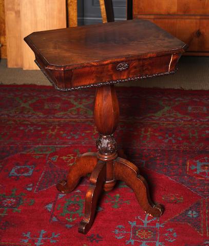 A mid-19th century mahogany work tablePossibly Scandinavian