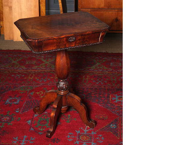 A mid-19th century mahogany work tablePossibly Scandinavian