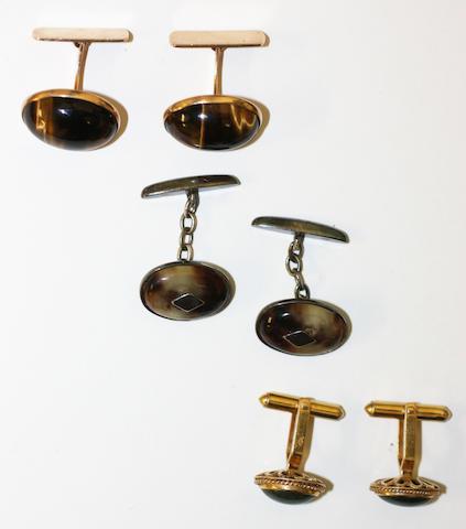 Three pairs of cufflinks,