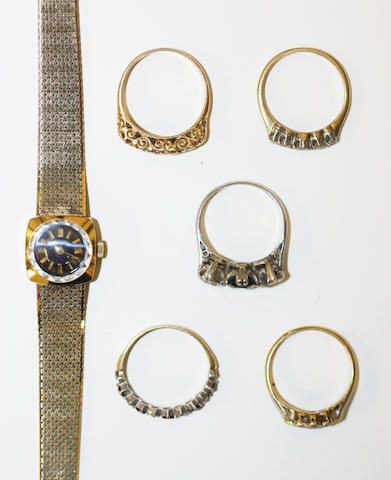 A wristwatch and five gem set rings, 6