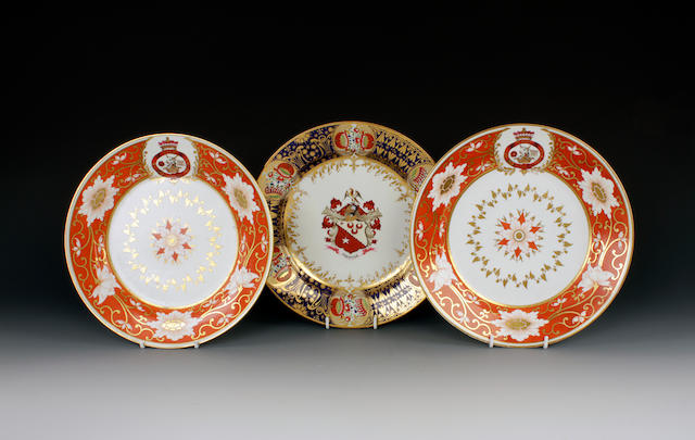 A Chamberlain's Worcester armorial plate and a pair of plates from the Marquis of Abergavenny service, circa 1790