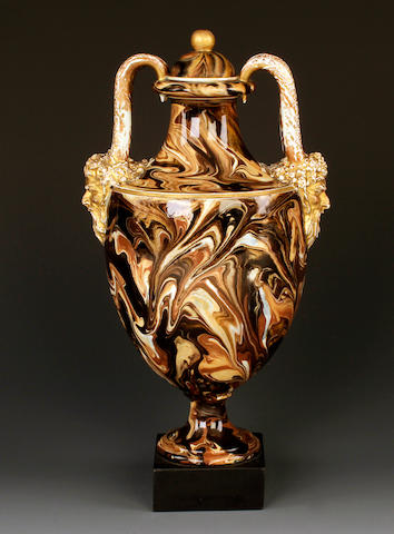 A Wedgwood and Bentley variegated agate vase and cover, circa 1775
