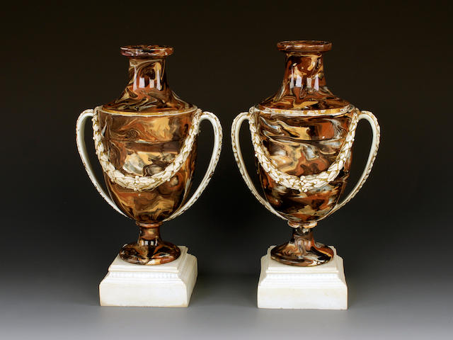 A pair of Wedgwood and Bentley variegated agate cassolettes, circa 1775