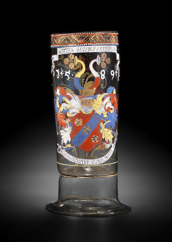 A Bohemian enamelled armorial Stangenglas, dated 1589, probably early 17th century