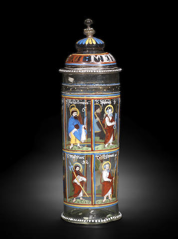 A Bohemian enamelled and gilt Apostelhumpen and cover, 17th century