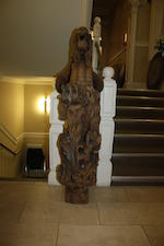 A large and impressive Victorian carved oak dragon newel postfourth quarter 19th century