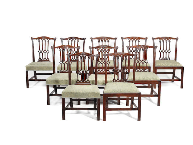 A Matched set of ten mahogany dining chairs.