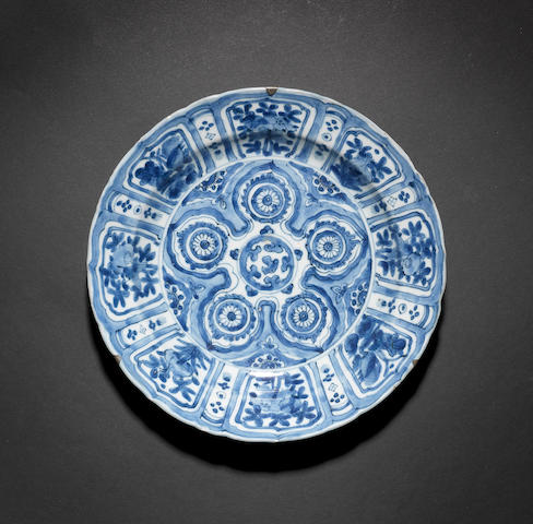 A blue and white Kraak dish Ming Dynasty