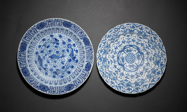 A group of six blue and white dishes Qing dynasty