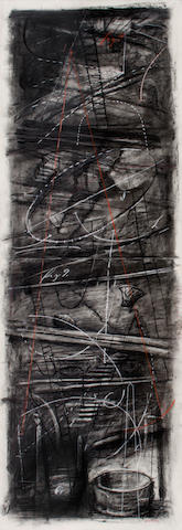 William Joseph Kentridge (South African, born 1955) Preparing the Flute (fig 9), charcoal and pastel, 236 x 80 cm.